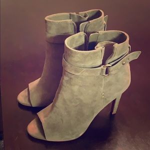 BCBG green open toe high heel booties